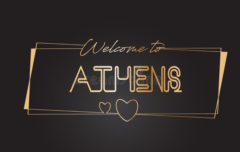 Aten välkomnar till guld- text neon som märker typografivektorillustrationen vektor illustrationer