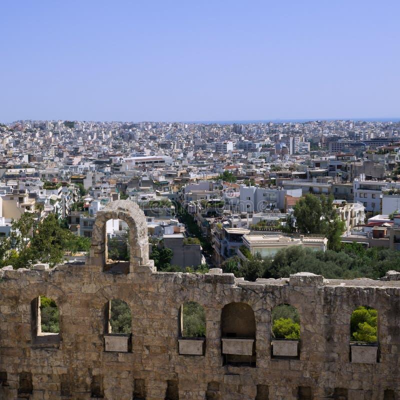 Atenas como visto da acrópole, em um dia ensolarado imagem de stock royalty free