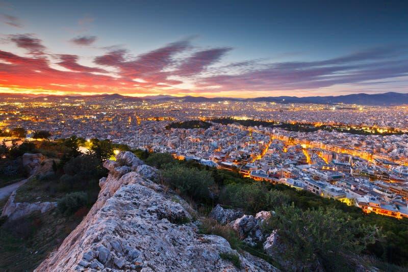 Atenas do monte de Lycabettus imagem de stock
