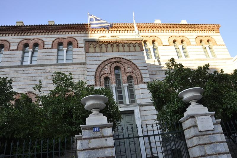 Atenas, el 27 de agosto: Edificio histórico de Atenas la capital de Grecia foto de archivo libre de regalías