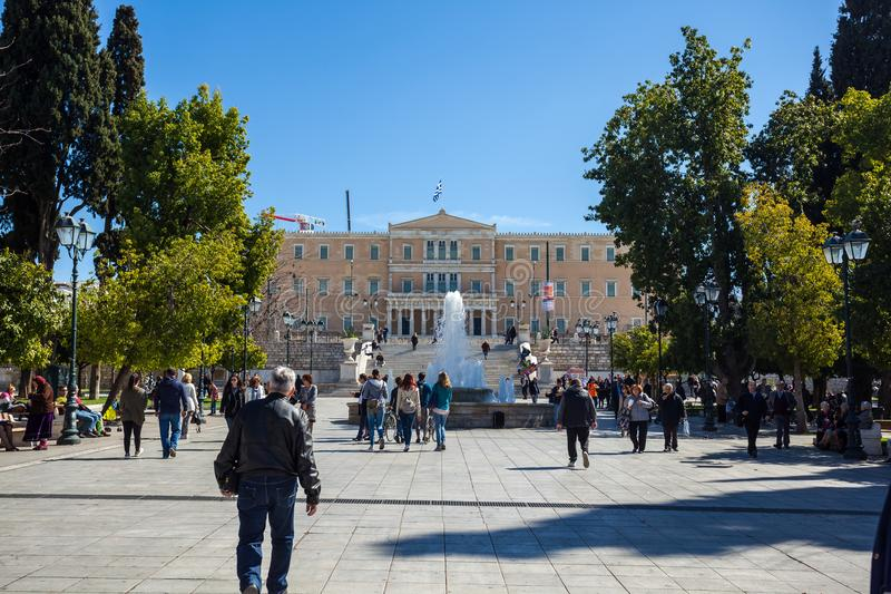 11 03 2018 Atenas, Grécia - a mansão presidencial, o offici foto de stock royalty free