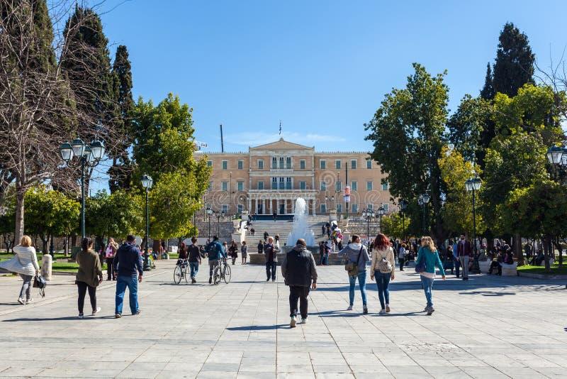 11 03 2018 Atenas, Grécia - a mansão presidencial, o offici fotos de stock royalty free