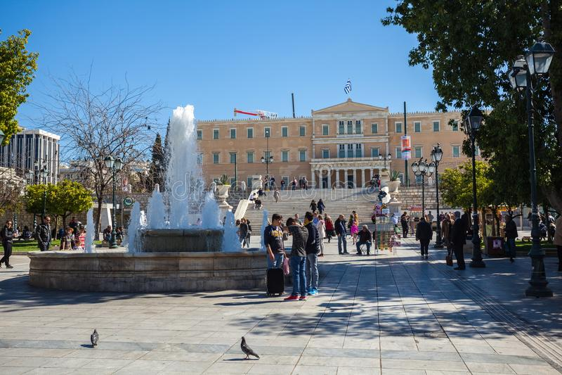11 03 2018 Atenas, Grécia - a mansão presidencial, o offici fotografia de stock