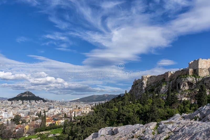 Atenas, Grécia Vista panorâmica da cidade de Atenas, acrópole, Lycabettus imagens de stock