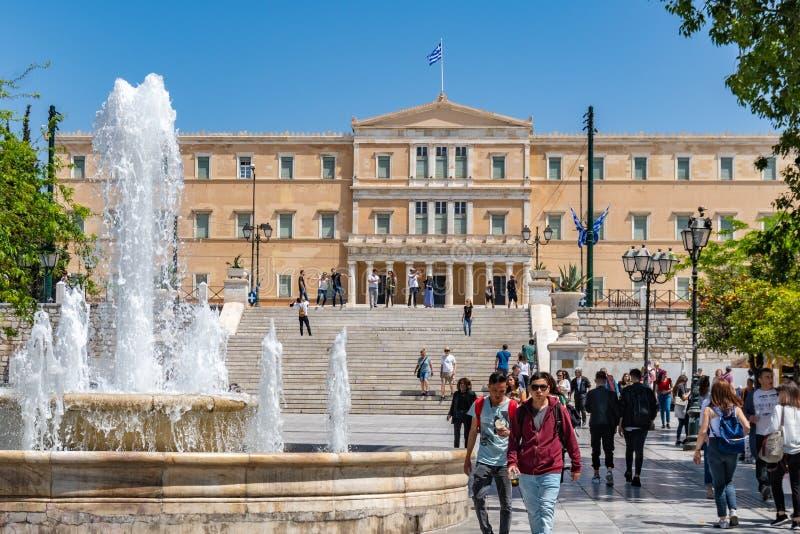 Atenas, Gr?cia - 27 04 2019: Residência oficial do presidente do Hellenic Republic imagem de stock