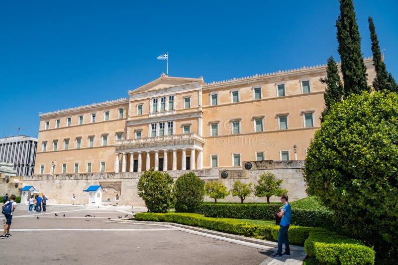Atenas, Gr?cia - 27 04 2019: Resid?ncia oficial do presidente do Hellenic Republic foto de stock