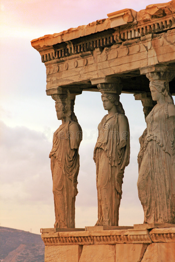 Atenas, Grecia - cariátides del erechteum foto de archivo libre de regalías