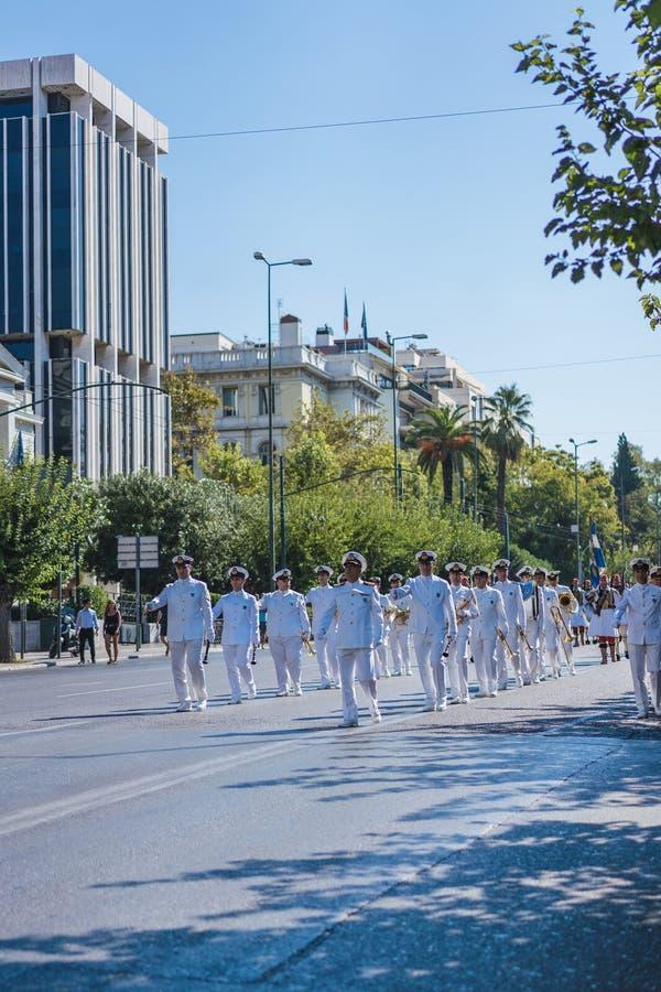 ATENAS, GRECIA - 16 DE SEPTIEMBRE DE 2018: Desfile militar para la Grecia Guarda ceremonia cambiante foto de archivo libre de regalías