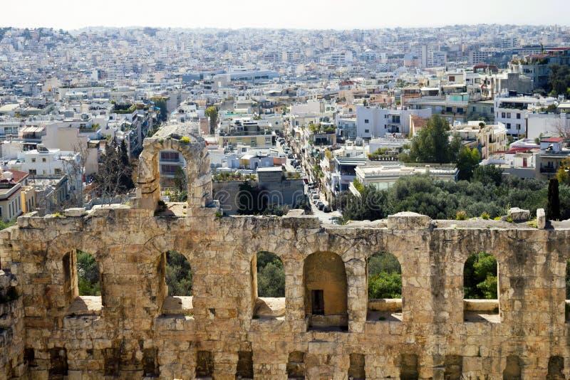 Atenas, Grecia, detalle del Odeon del Atticus de Herodes fotografía de archivo