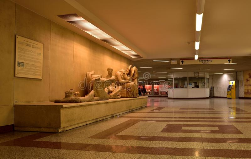 ATENAS GRECIA, LA ESTACIÓN DE METRO foto de archivo libre de regalías