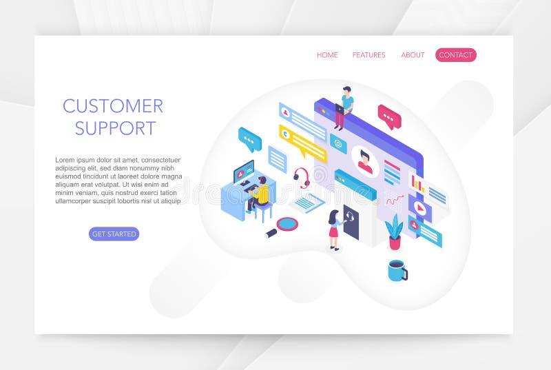 Atención al cliente, ayuda técnica en línea del consumidor, vector isométrico técnico del infographics del concepto 3d del servic ilustración del vector