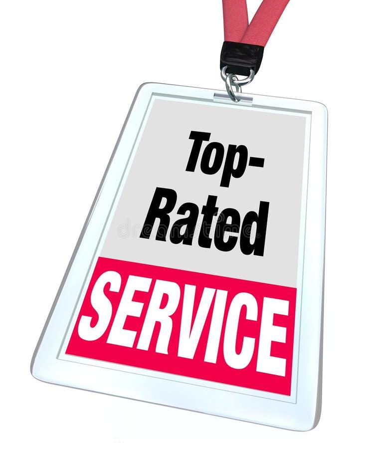 Atención al cliente clasificada superior de la etiqueta del nombre de la insignia del empleado del servicio stock de ilustración