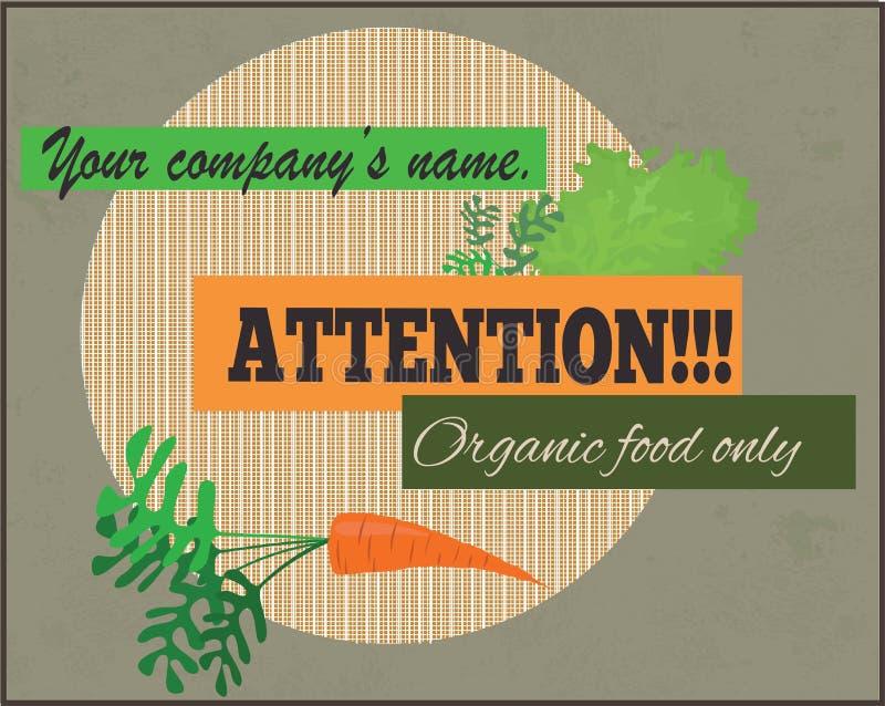 Atención, muestra del alimento biológico solamente imagen de archivo libre de regalías