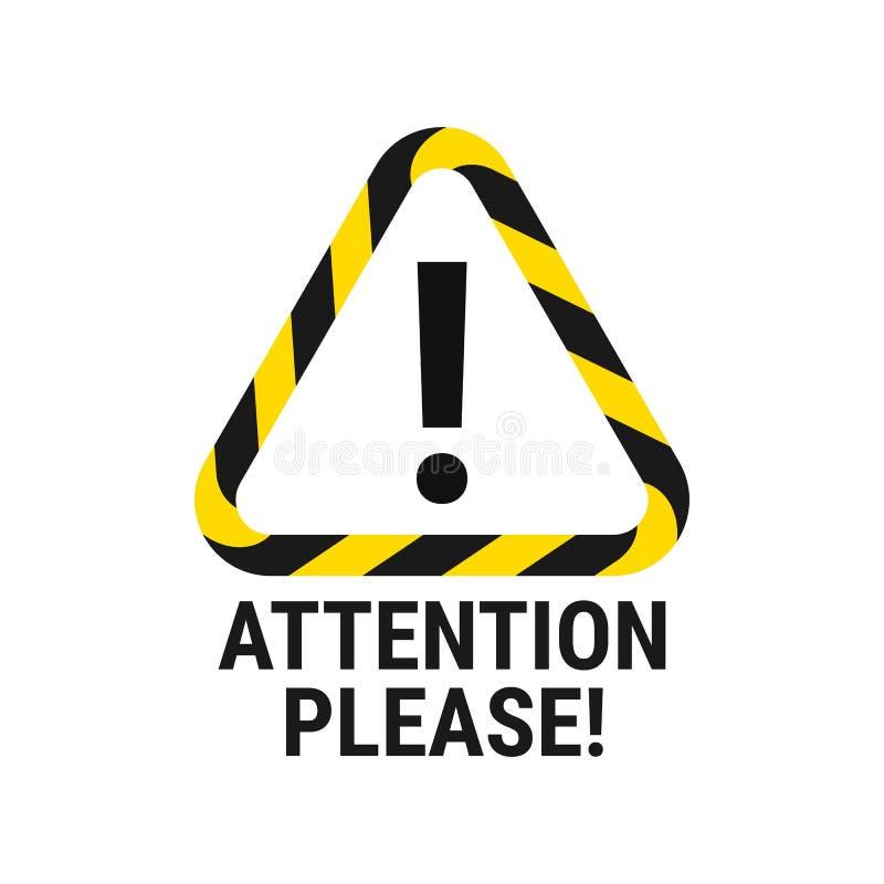 Atención por favor Aviso importante Preste la atención Ilustración del vector ilustración del vector