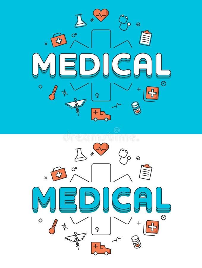 Atención sanitaria cruzada médica de la emergencia plana linear libre illustration