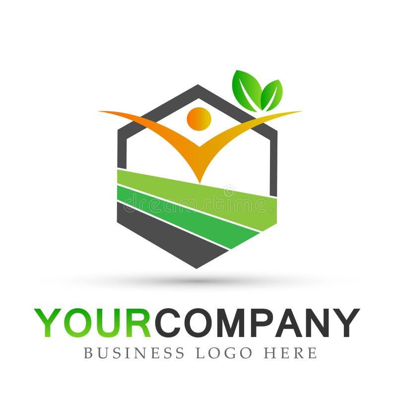 Atención sanitaria de las propiedades inmobiliarias de la naturaleza de la gente, diseño del logotipo del símbolo de los iconos d ilustración del vector