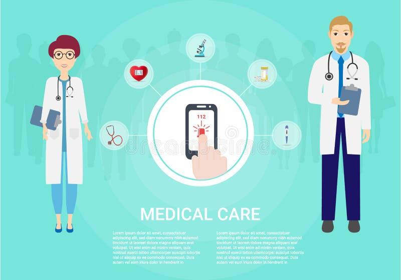 Atención sanitaria del concepto Fondo médico Fije los iconos del equipamiento médico Doctor y paciente aislados en fondo ilustración del vector
