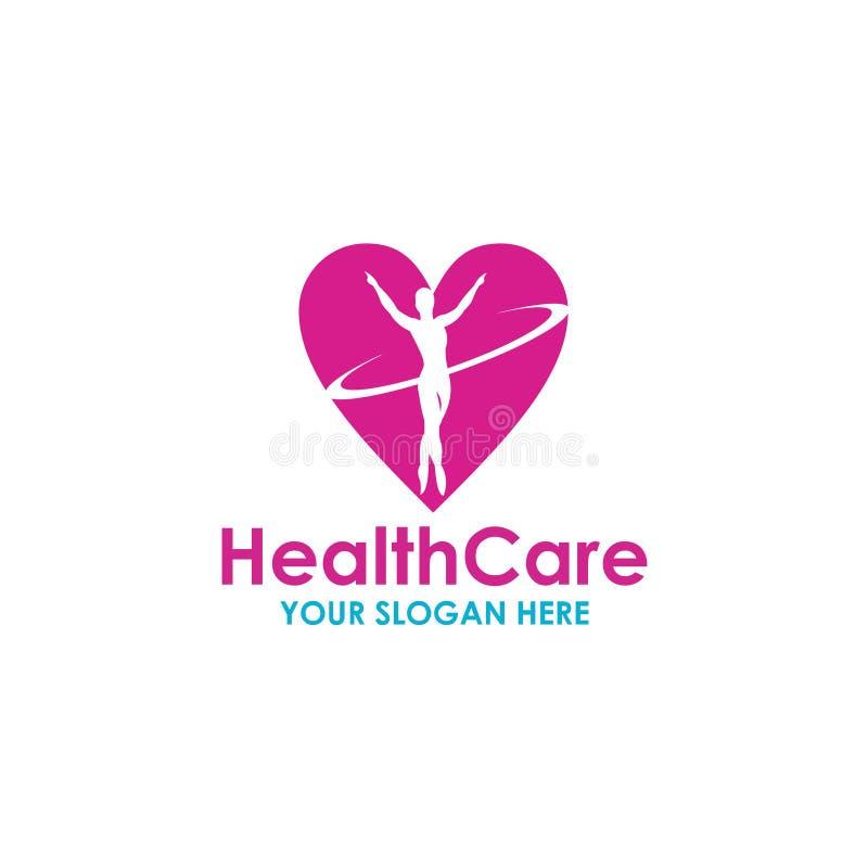 Atención sanitaria Logo Vector Template Design Illustration stock de ilustración