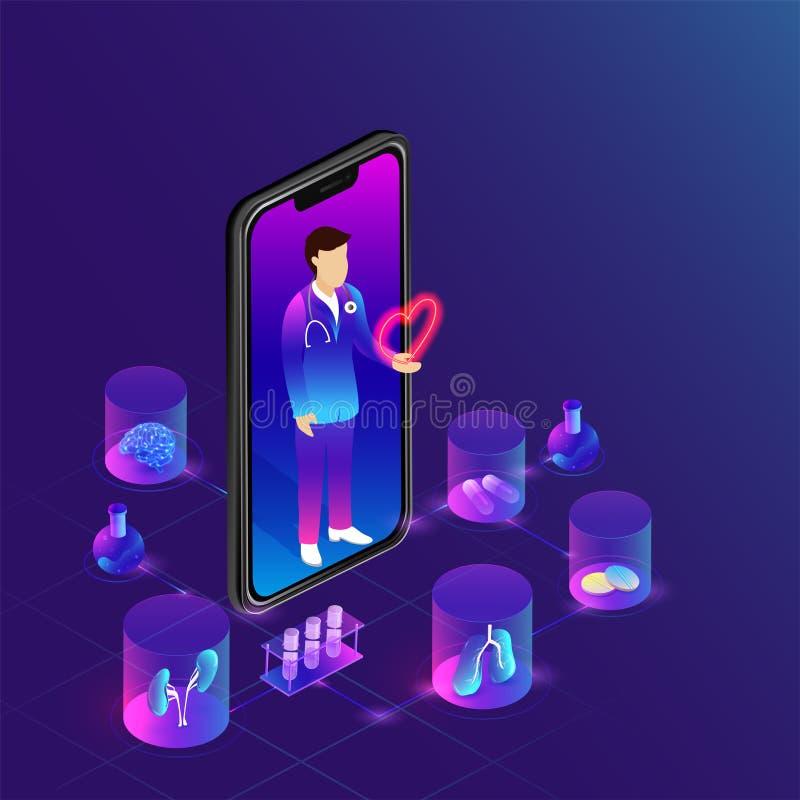 Atención sanitaria médica app en pantalla del smartphone con el equipm médico stock de ilustración
