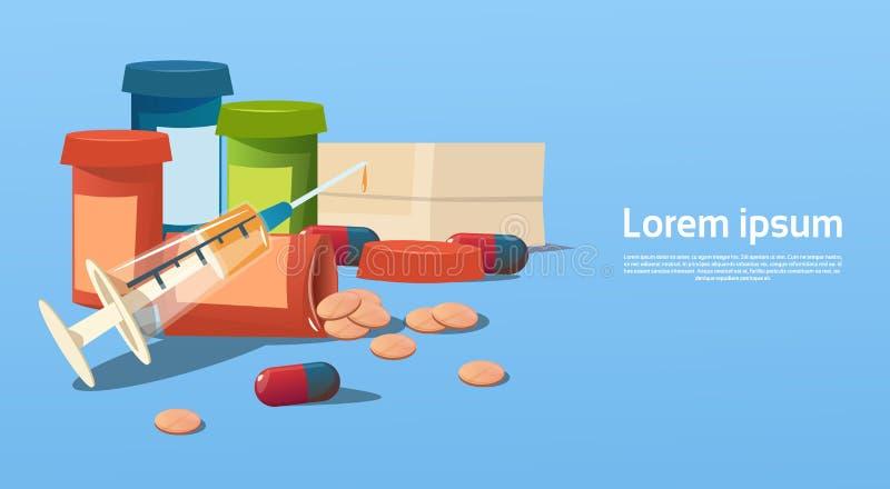 Atención sanitaria médica de la botella de las tabletas de las píldoras libre illustration