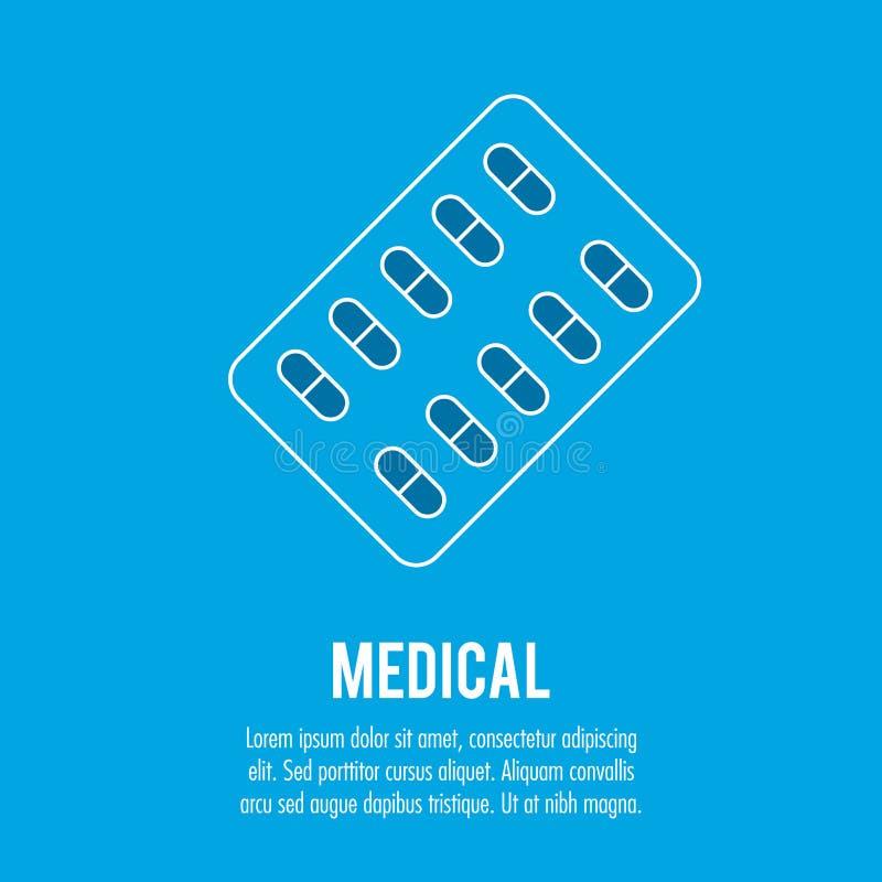 Atención sanitaria médica de las píldoras de la farmacia stock de ilustración
