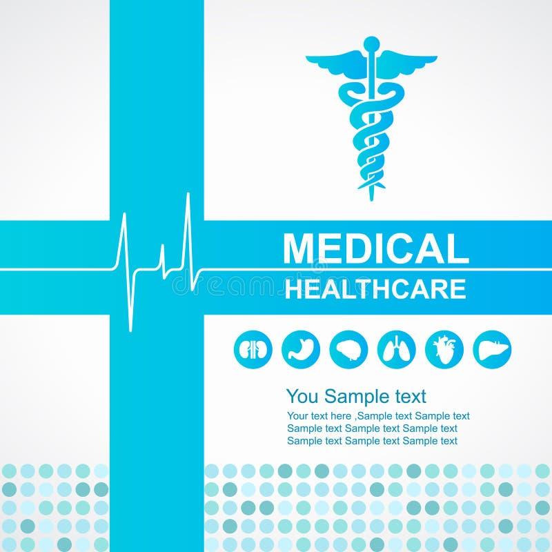 Atención sanitaria médica - la cruz y el caduceo y las ondas azules del vector del icono de los órganos del corazón y del cuerpo  ilustración del vector