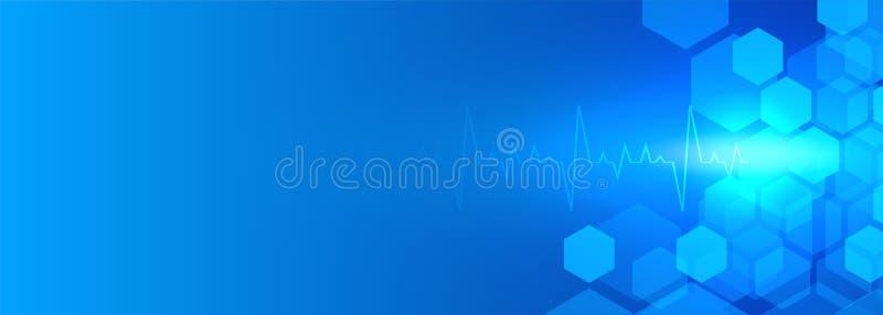 Atención sanitaria y bandera azul médica con el espacio del texto ilustración del vector