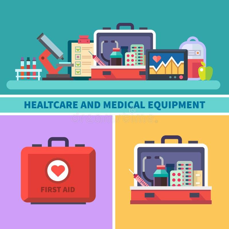 Atención sanitaria y equipamiento médico libre illustration
