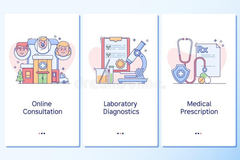 Atención sanitaria y forma de vida sana Plantilla onboarding de las pantallas del arte linear del sitio web ilustración del vector