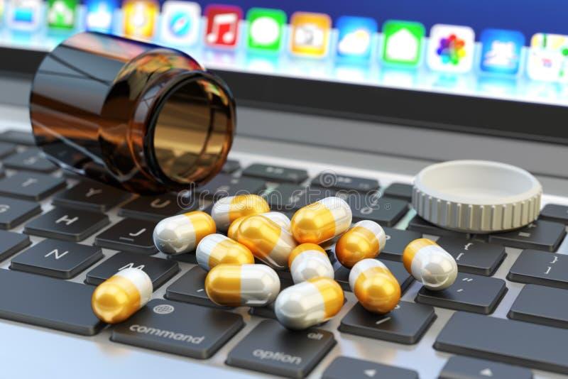 Atención sanitaria y medicina, apego de Internet y concepto de la tensión libre illustration