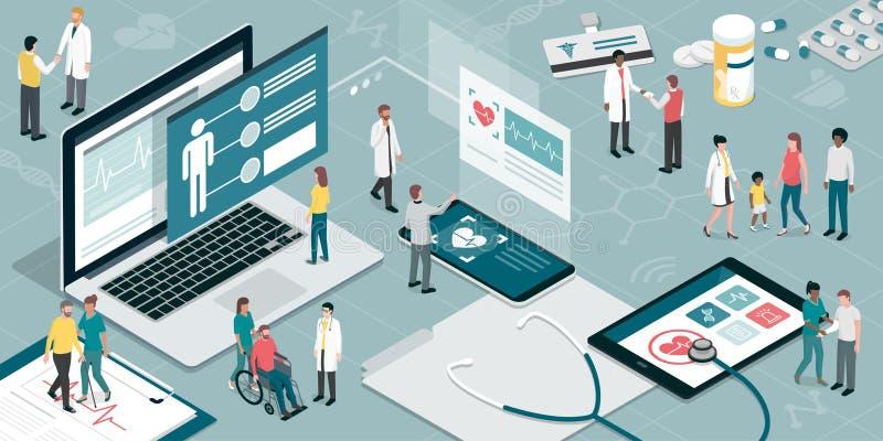 Atención sanitaria y tecnología ilustración del vector