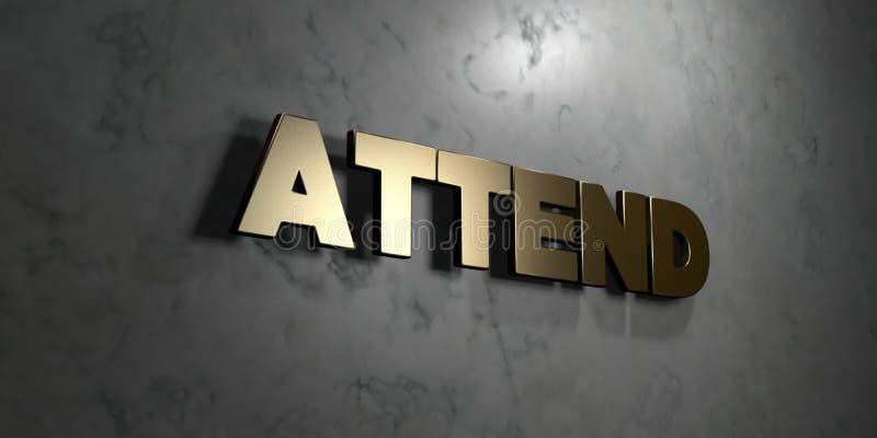 Atenda - sinal do ouro montado na parede de mármore lustrosa - à ilustração conservada em estoque livre rendida 3D dos direitos ilustração royalty free