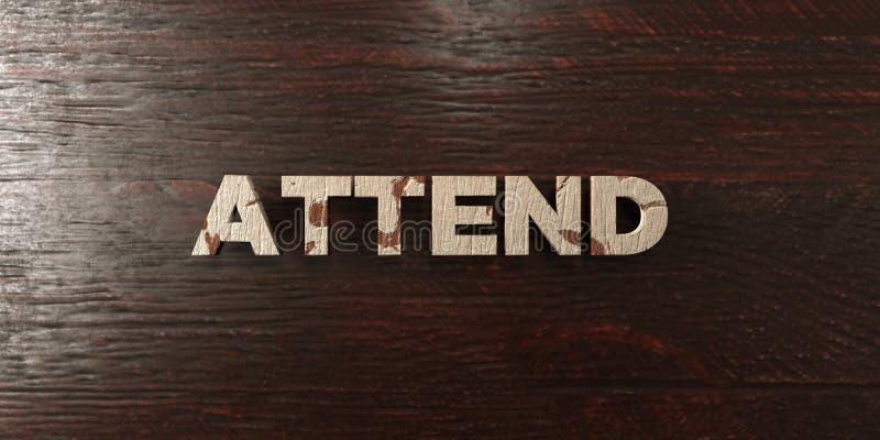 Atenda - título de madeira sujo no bordo - à imagem conservada em estoque livre rendida 3D dos direitos ilustração do vetor