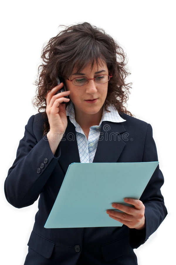 Atendimento da mulher de negócio fotografia de stock