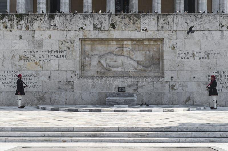 Evzones (guardie presidenziali di ceremonial) della Grecia immagine stock libera da diritti