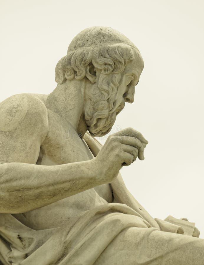 Atene Grecia, Platone la statua antica del filosofo fotografia stock libera da diritti