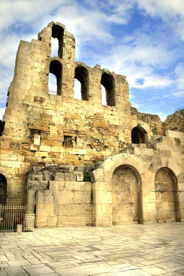 Atene, Grecia - teatro del Atticus di Herodus immagine stock libera da diritti