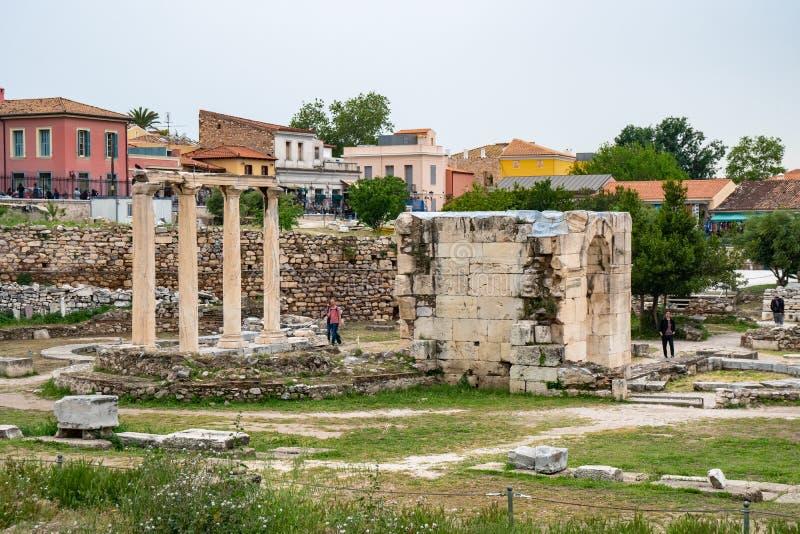 Atene, Grecia - 25 04 2019: Vista dell'agora antico di Atene, Grecia fotografia stock