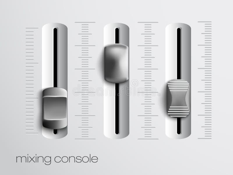 Atenuadores de mezcla de la consola ilustración del vector