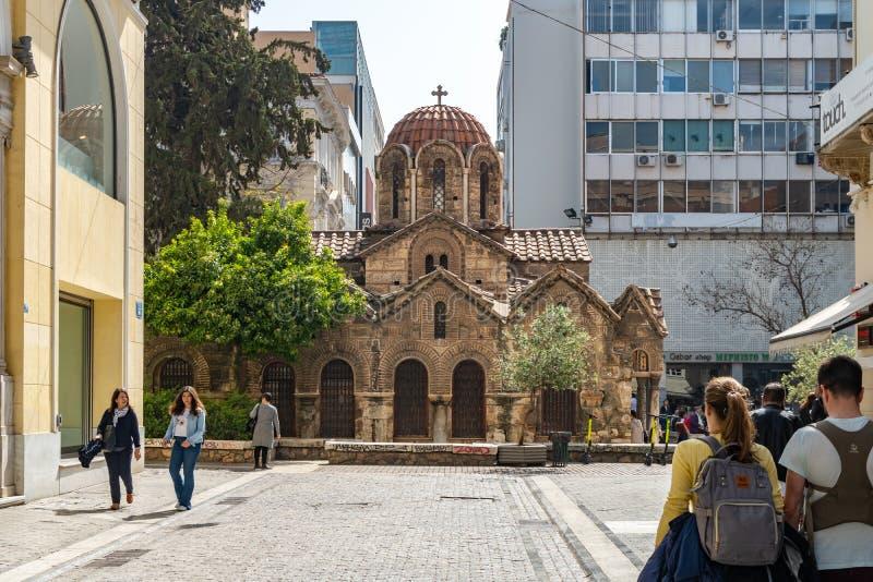 Ateny, Grecja - 26 04 2019: Kościół Panagia Kapnikarea stary kościół w Ateny obraz stock