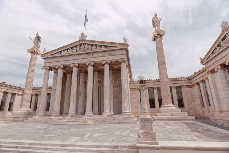 Ateny Grecja krajowej akademii neoklasyczny budynek i Apollo statuy z Athena, obrazy royalty free