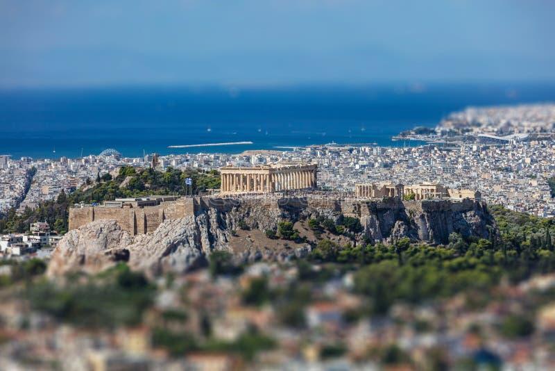 Ateny, Grecja Ateny miasta i akropolu widok z lotu ptaka od Lycavittos wzgórza zdjęcie stock