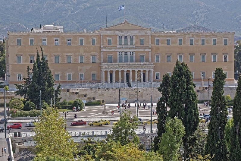 Ateny Grecja parlamentu narodowego neoklasyczny budynek na syntagma kwadracie zdjęcia royalty free
