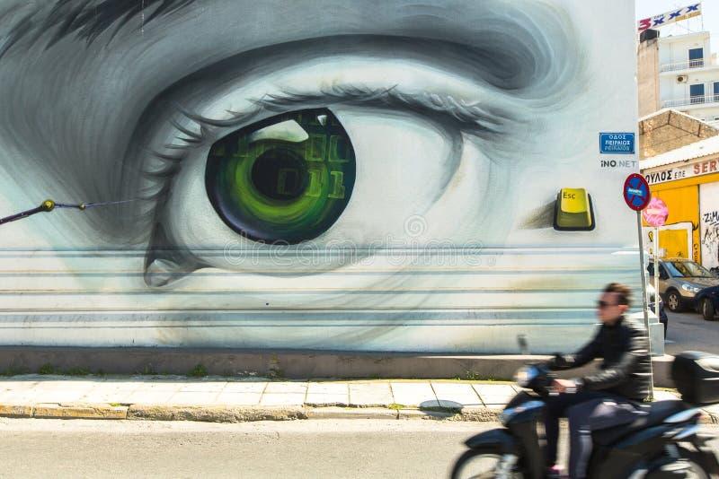 ATENY, GRECJA - Współczesna graffiti sztuka na miasto ścianach zdjęcie royalty free
