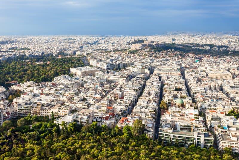 Ateny powietrzny panoramiczny widok zdjęcia stock