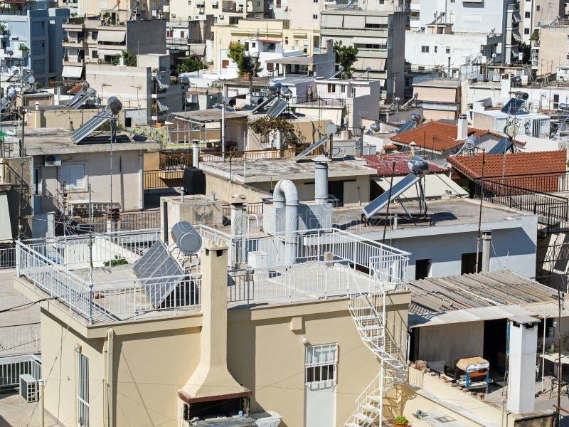 Ateny, Wysoki - gęstość budynek mieszkalny obrazy royalty free