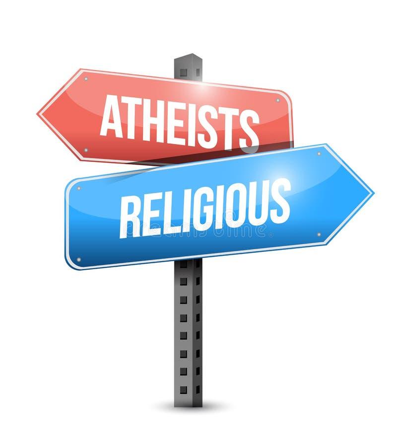 ateos y ejemplo religioso de la placa de calle stock de ilustración