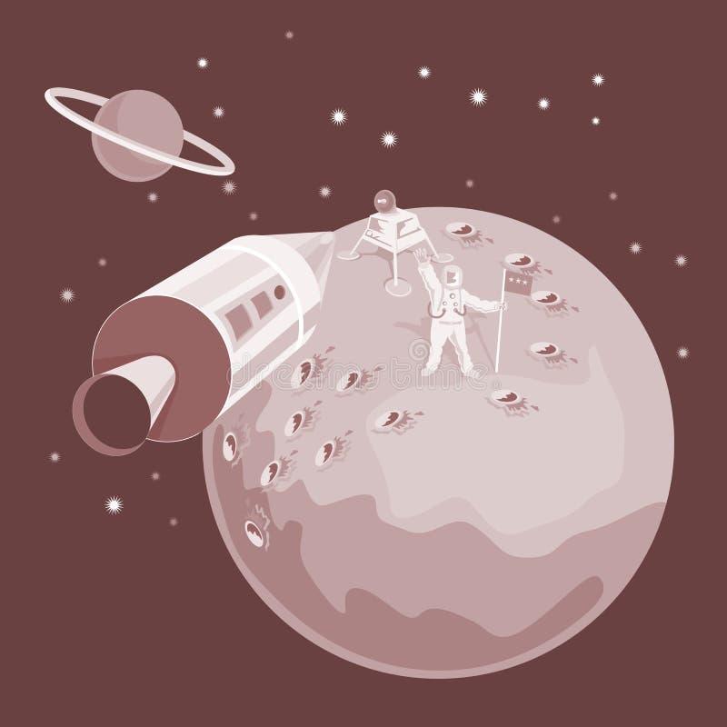 Aterragem da canela de espaço na lua ilustração royalty free