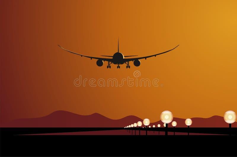 Aterragem de DreamLiner do vetor no por do sol ilustração stock