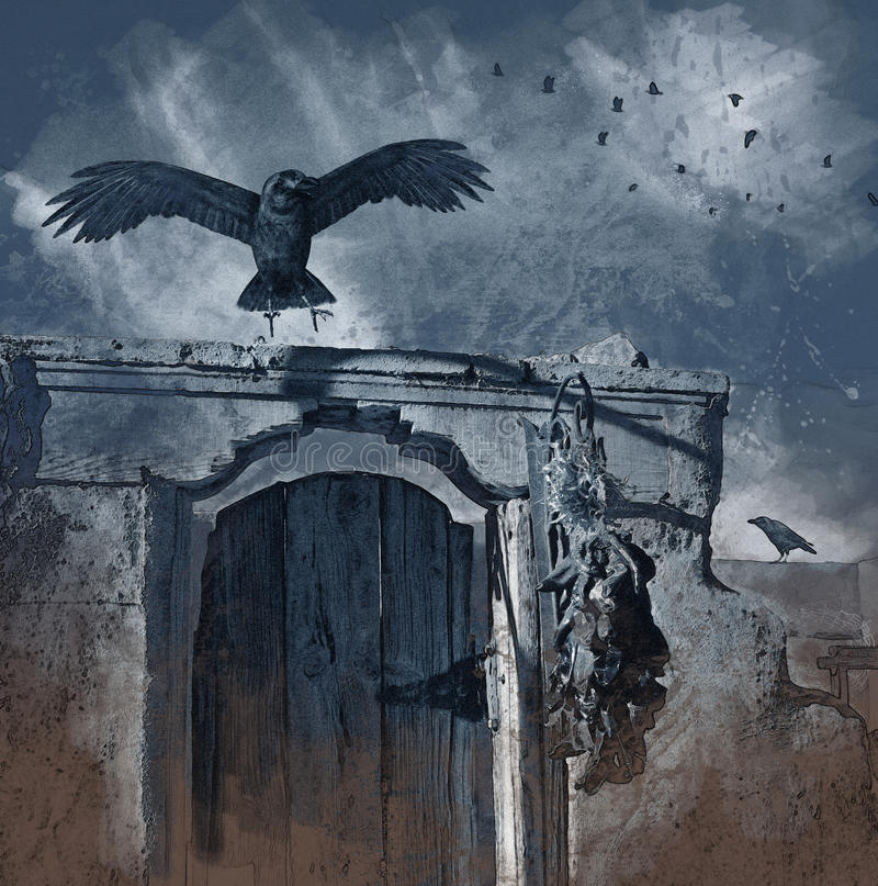Aterragem do corvo - carvão vegetal ilustração royalty free
